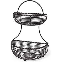 Gourmet Basics by Mikasa 5153170 Rope 2-Tier Flat Back Metal Basket, Antique Black