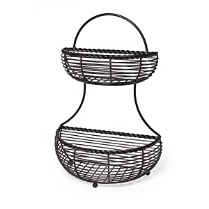 Gourmet Basics by Mikasa 5153170 2-Tier Flatback Metal Storage Basket Rope