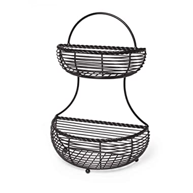 Gourmet Basics by Mikasa 5153170 Rope 2-Tier Flatback Metal Storage Basket, Antique Black