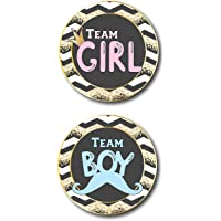 "40-Pack 4"" Gender Reveal Stickers for Girl and Boy Babies, Gender Reveal Team Boy and Team Girl Sticker Labels, Gender Reveal Baby Shower Decorations and Party Supplies, New Mom and Dad to Be"