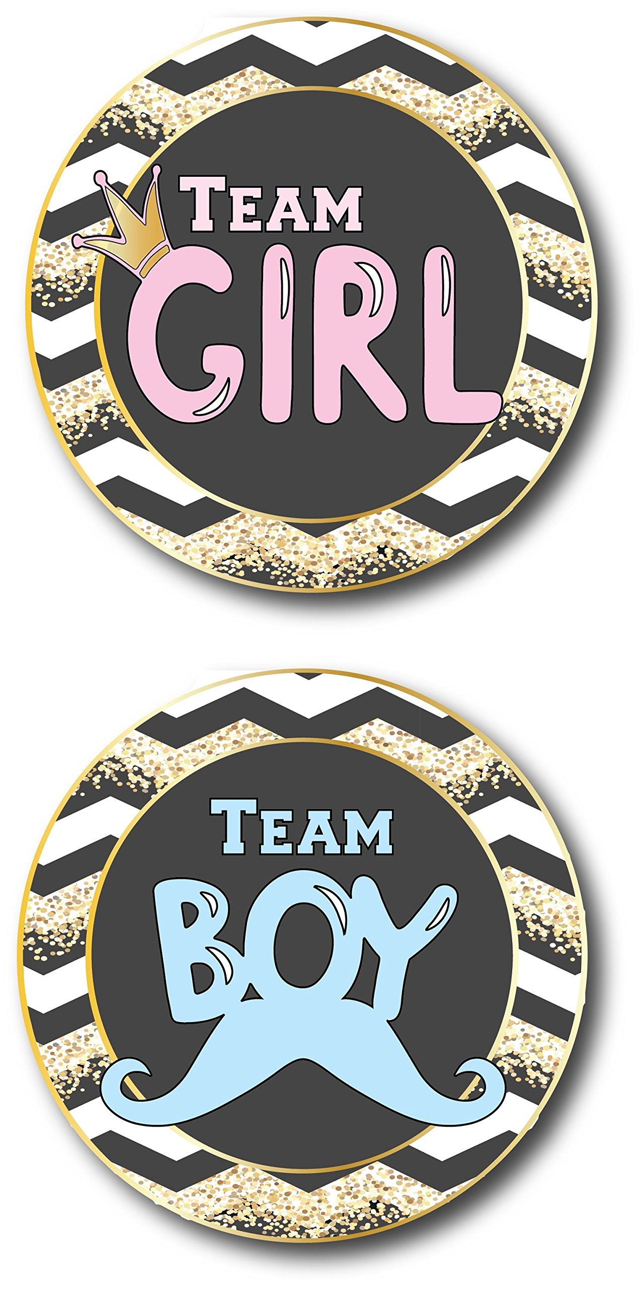 Baby Shower Games | 20 Sticker Badges For Team Girl & Team Boy Babies, Gender Reveal Team Boy And Team Girl Sticker Labels, Baby Shower Decorations And Party Supplies, Two Moms, Two Dads, Gold Theme by L&P Designs