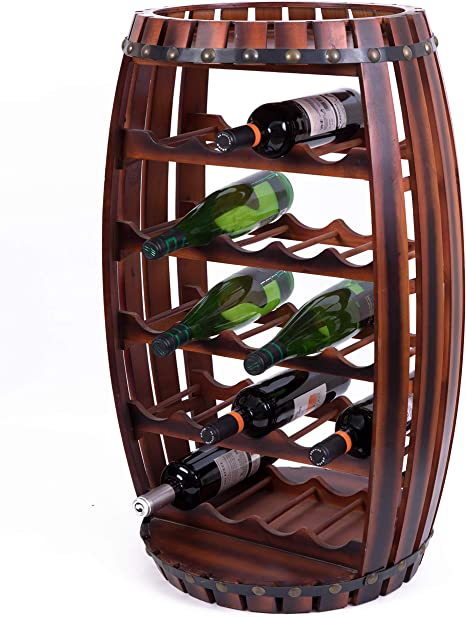 Amazon Com Vintiquewise Qi003284l Large Wooden Barrel Shaped 23 Bottle Wine Rack