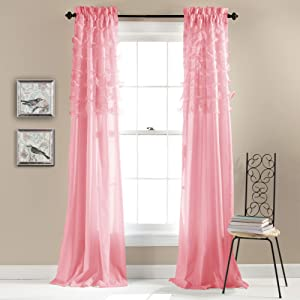 Lush Decor, Pink Avery Curtains Ruffled Shabby Chic Style Window Panel Set for Living, Dining Room, Bedroom (Pair), 84 by 54-Inch