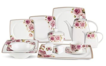 Lorenzo 57 Piece Elegant Bone China Service for 8 Loretta Dinnerware Sets Multicolor  sc 1 st  Amazon.com & Amazon.com | Lorenzo 57 Piece Elegant Bone China Service for 8 ...