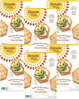 product image for Simple Mills Everything Gluten Free Sprouted Seed Crackers with Chia Seeds, Hemp Seeds, Sunflower Seeds, Flax Seeds, and Sunflower Oil, Made with whole foods, 6 Count (Packaging May Vary)