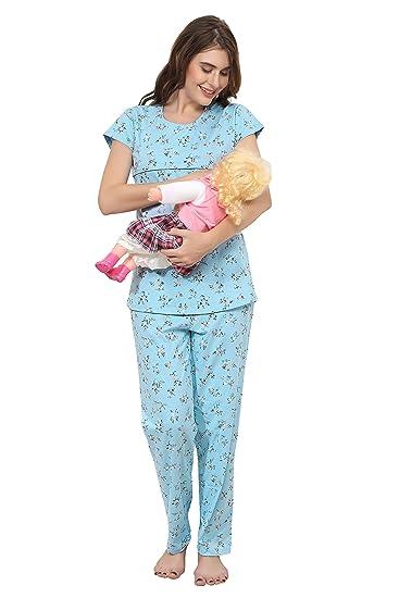 4fa1870372c77 ZEYO Women's Cotton Feeding Floral Print Nursing Suit Night Dress (Blue,  Medium)