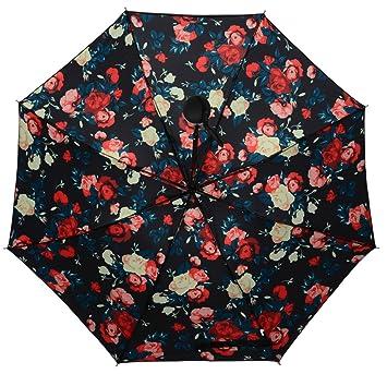 Sombrilla para mujer HenMerry en negro con diseño de flores resistente al viento,