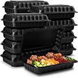 "Eco-Friendly Meal Prep Containers [50-Pack 9x6x3""] Black Disposable to go Clamshell Food Containers with Secure Snap Hinged L"