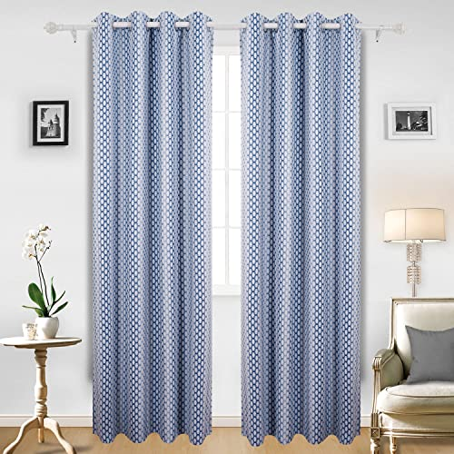 Deconovo Grommet Top Moroccan Print Thermal Insulated Panel Hotel Quality Blackout Curtain for Bedroom, 52×95 Inch, Azure Blue