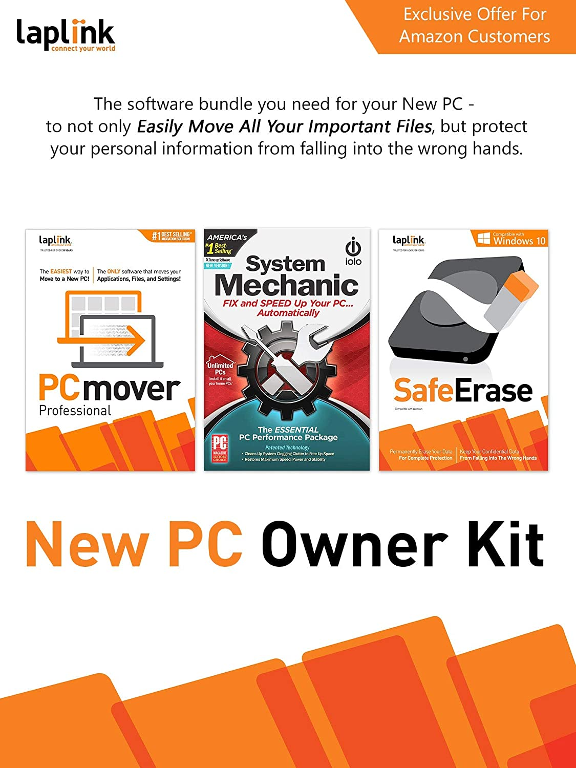 Amazon Com New Pc Owner Kit Laplink Pcmover Professional Laplink Safeerase Iolo System Mechanic Pc Download Software