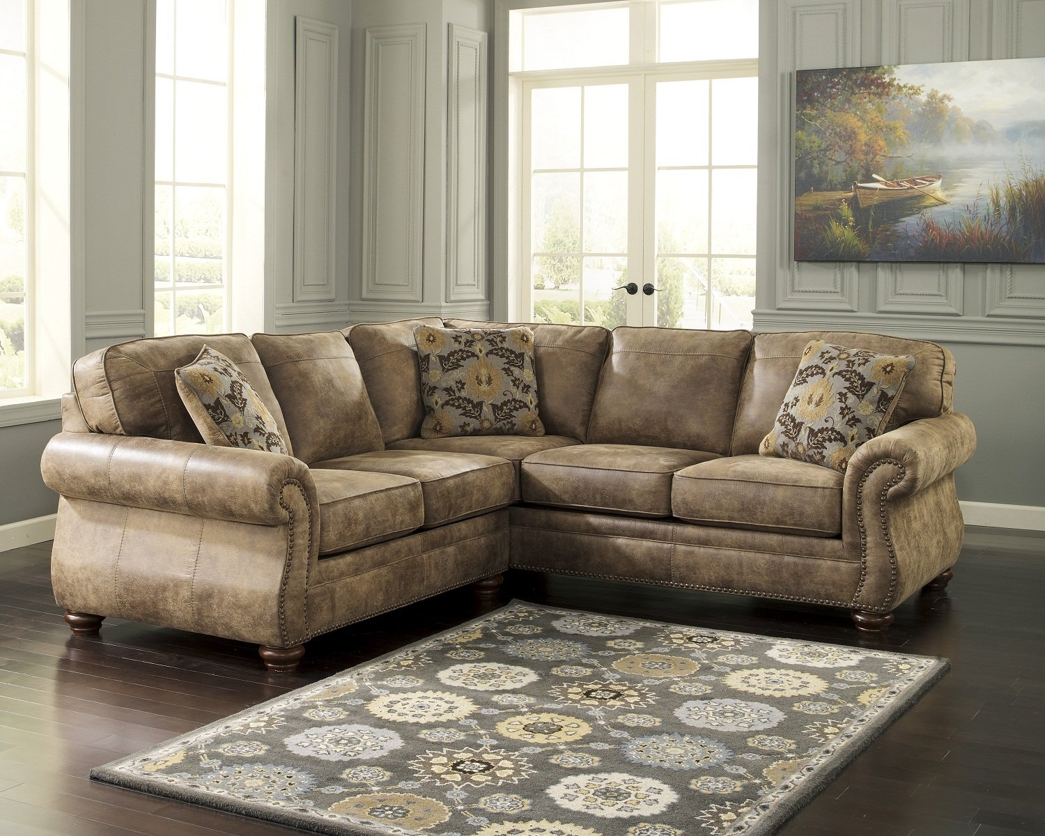 Ashley furniture sectional couches Chaise Amazoncom Ashley 319015567 Larkinhurst Sectional Sofa With Left Arm Facing Loveseat And Right Arm Facing Sofa In Earth Kitchen Dining Amazoncom Amazoncom Ashley 319015567 Larkinhurst Sectional Sofa With Left