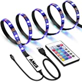 AMIR TV LED Light Strip, 30 LED TV Backlight Strip, USB Bias Monitor Lighting, Changing Color Strip Kit, Accent Light Set, Waterproof Bias Lighting for TV Desktop PC (Wireless Remote Controller)