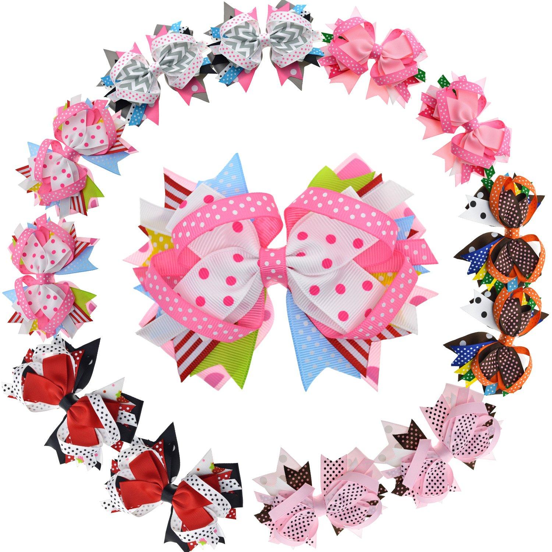 LCLHB Big Layered Fabric Ribbon Bows Alligator Hair Clip For Girls Women 12 Pack HW1701