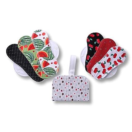 Compresas de tela reutilizables, pack de 6 compresas ecologicas de algodón puro con alas (