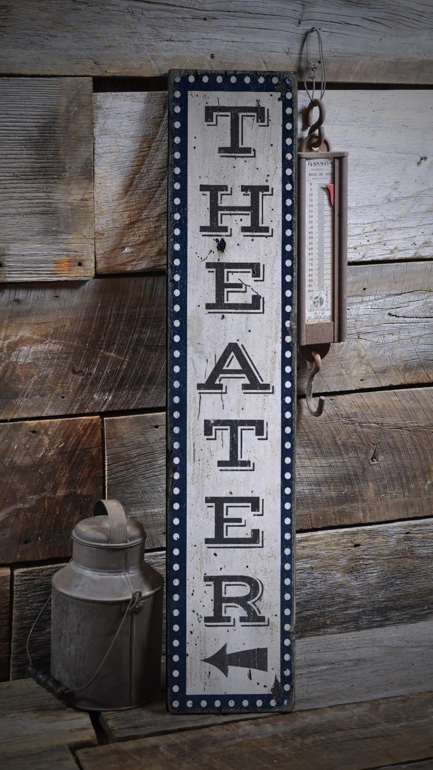 Movie Room Sign, Home Theater Sign, Vertical Theater Sign Wood Theater Sign, Home Theater Decor - Rustic Hand Made Wooden Sign - 11.25 x 60 Inches