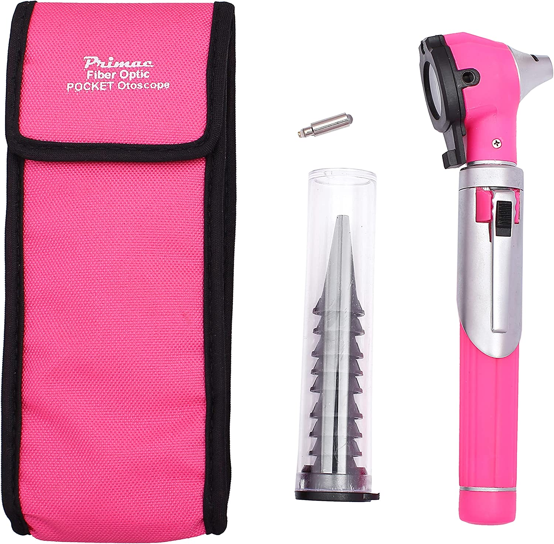 Primac FiberOptic Mini Earscope - Made for Students, Nurses & Home Use (Pink)