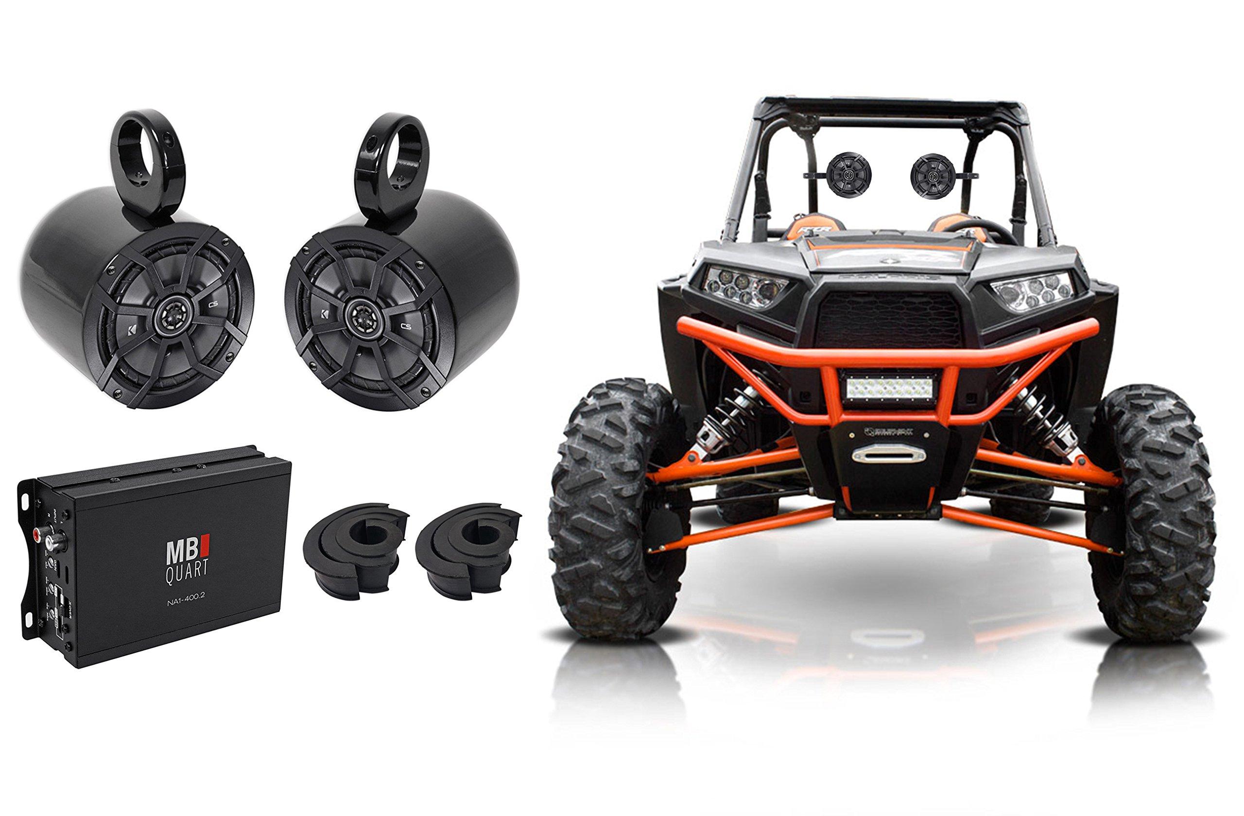 2) Kicker 6.5'' Rollbar Speakers+2-Channel Amplifier For Polaris/ATV/UTV/RZR/CART