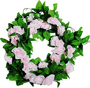 MagicZoo 2Pack(18 Rose Flowers) 15FT Artificial Rose Vine Silk Flower Garland Fake Hanging Rose Flower Plant for Home Office Garden Hotel Wedding Party Decor (2pc Light Pink)