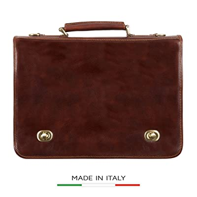 Alberto Bellucci Men's Italian Leather Double Compartment Laptop Messenger Bag, Brown, One Size