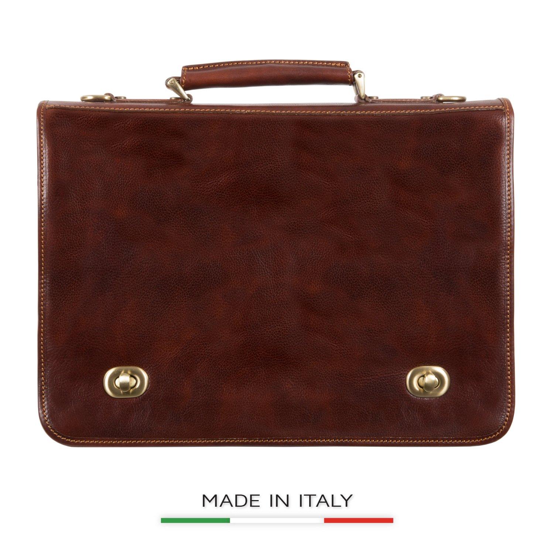 Luggage Depot USA, LLC Men's Alberto Bellucci Italian Leather Double Compartment Laptop Messenger Bag, Brown, One Size by Luggage Depot USA, LLC