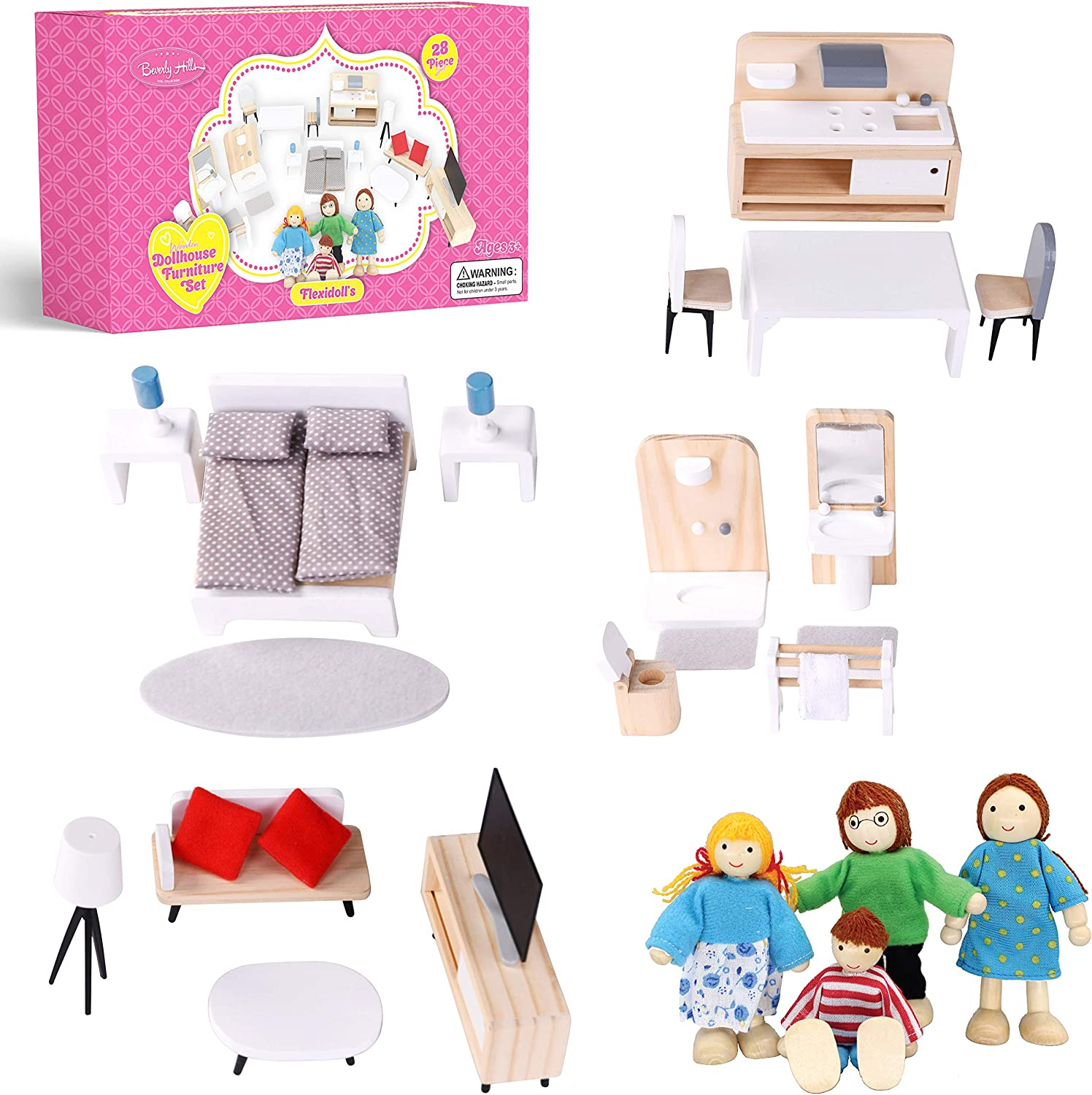 Beverly Hills Wooden Dollhouse Furniture Set with 4 Dollhouse Family Figures - 28 Piece Set Fully Furnished Kitchen, Living Room, Bedroom, Bathroom