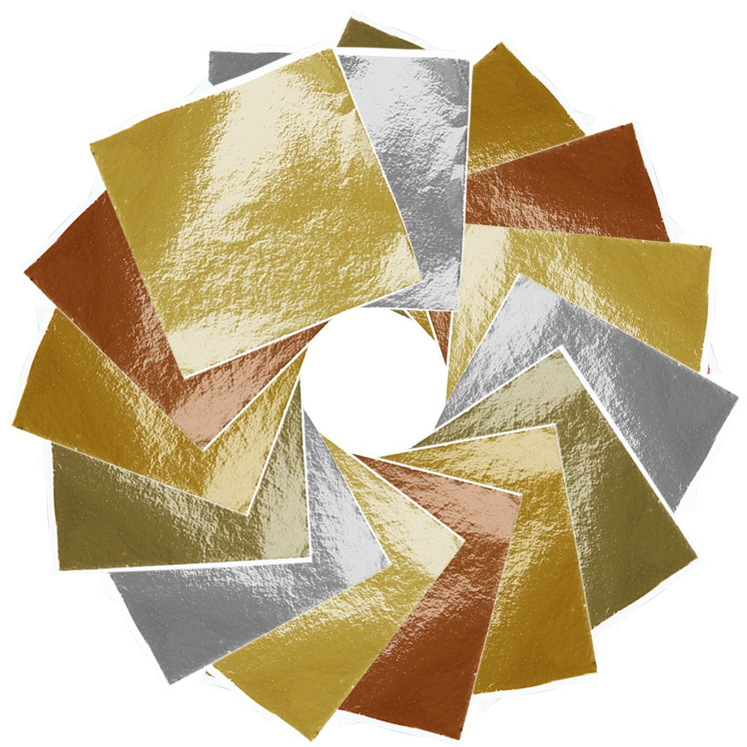 Aneco 475 Sheets Imitation Gold Leaf Foil Paper for Arts, Gilding Crafting, Decoration, Furniture, 5 Colors,3.54by 3.54 inches 4336855692