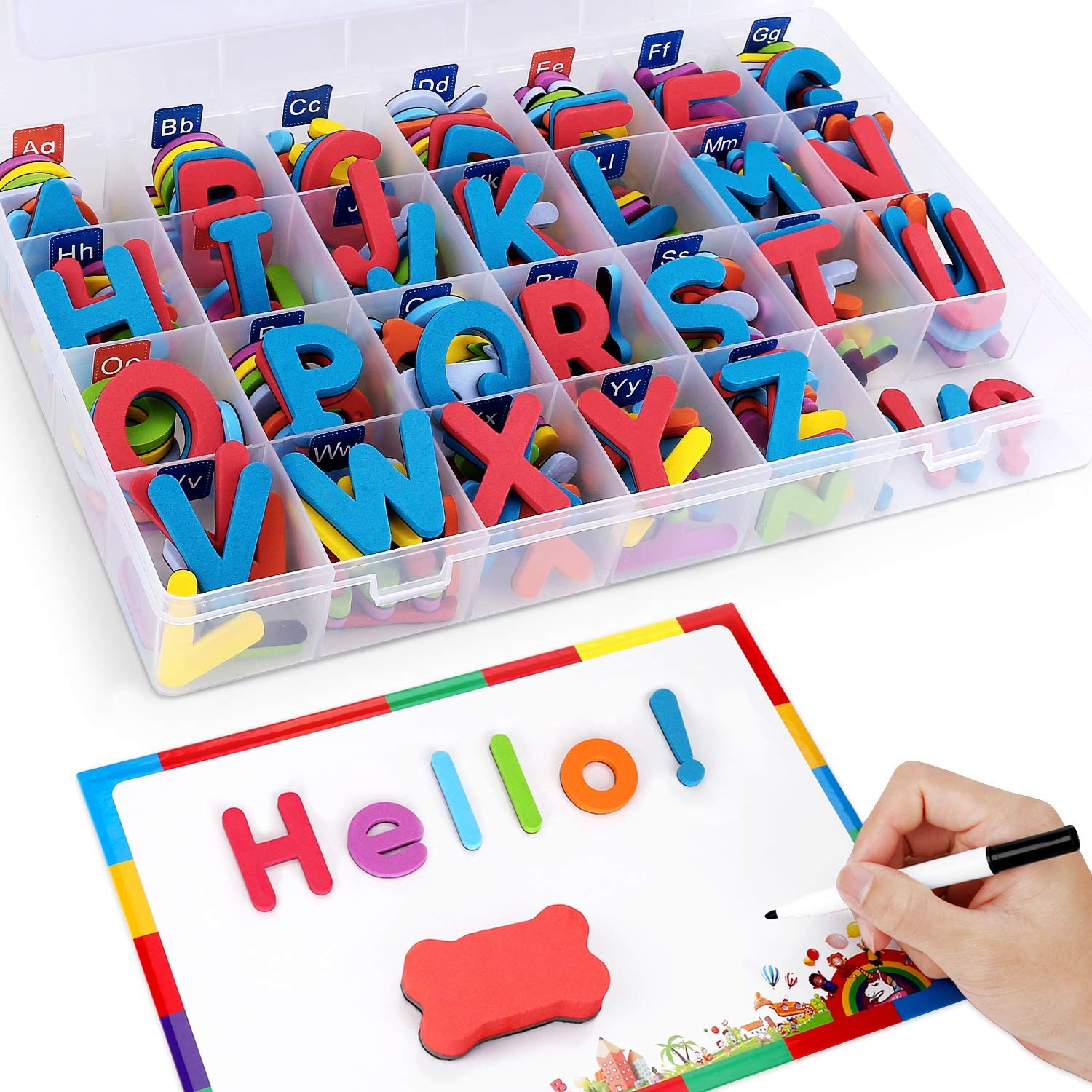 Xin store Magnetic Letters with Magnetic Writing Board and Storage Box - 208 Pieces Uppercase Lowercase Foam Fridge Alphabet Magnets for Kids Preschool Spelling and Learning Toy Game by Xin store
