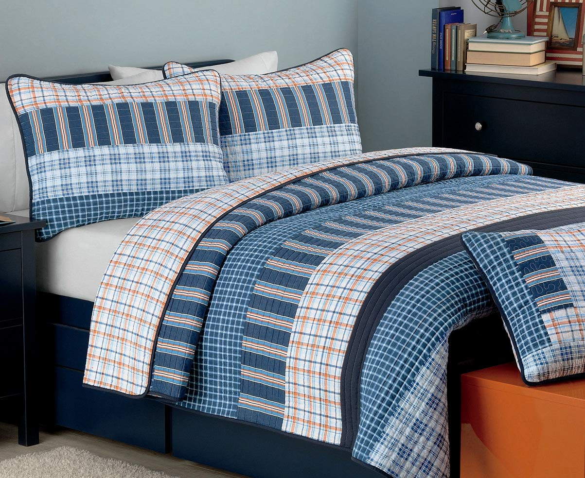 Cozy Line Home Fashions Bennett Quilt Bedding Set, Nautical Navy Orange Grid Striped Print 100% Cotton Reversible Coverlet Bedspread for Boy (Navy Orange, Queen - 3 Piece) by Cozy Line Home Fashions