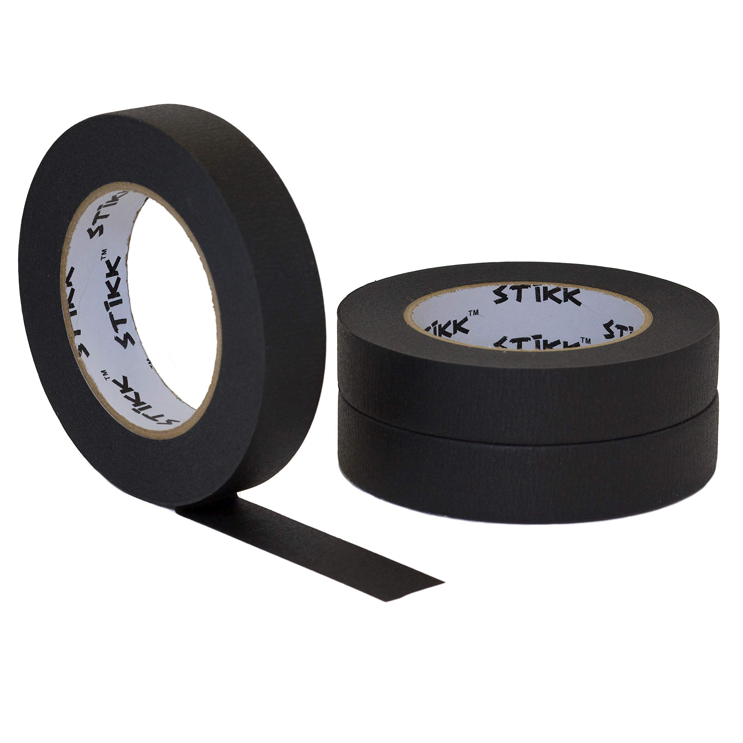 3 pk 1'' inch x 60yd STIKK Black Painters Tape 14 Day Clean Release Trim Edge Finishing Decorative Marking Masking Tape (.94 in 24MM)