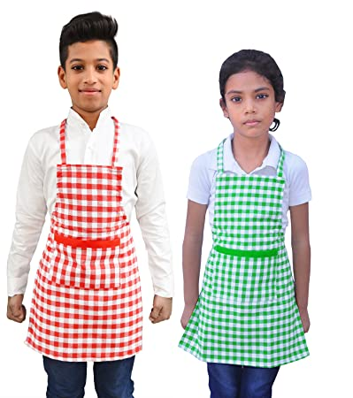 Switchon Waterproof Kids Multi Purpose Cooking Painting and School Apron in Checks Pack of 2 Apron