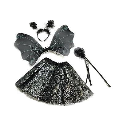 Rush Dance Halloween Black & Silver Spider Fairy- Wings, Wand, Headband & Tutu: Clothing