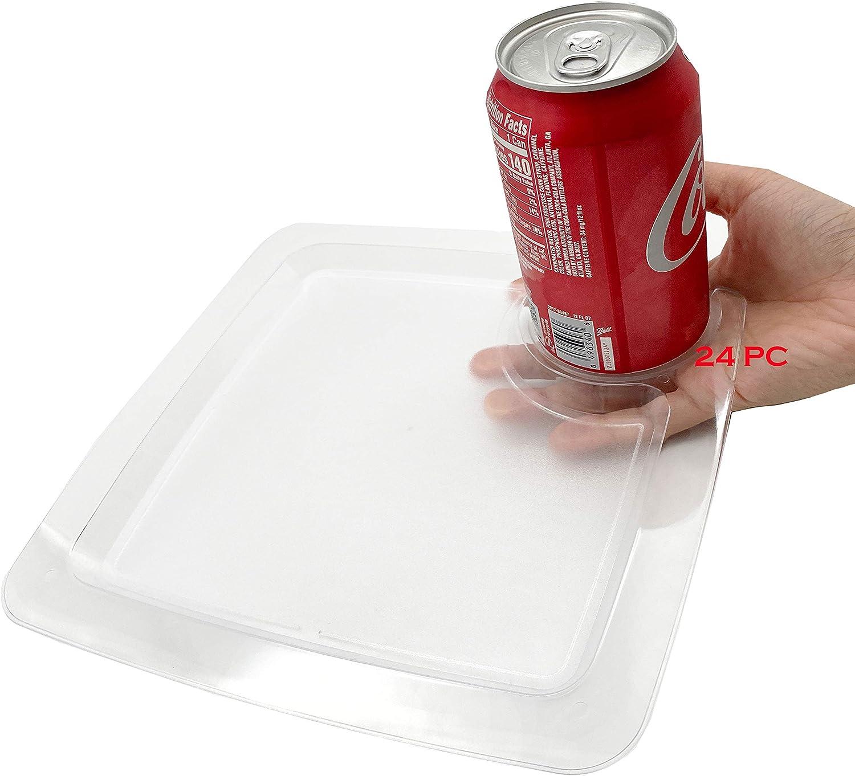 24 pieces plastic plate, 9 Inch Heavy Duty Clear Square Disposable Stemware Holder Dessert Plates