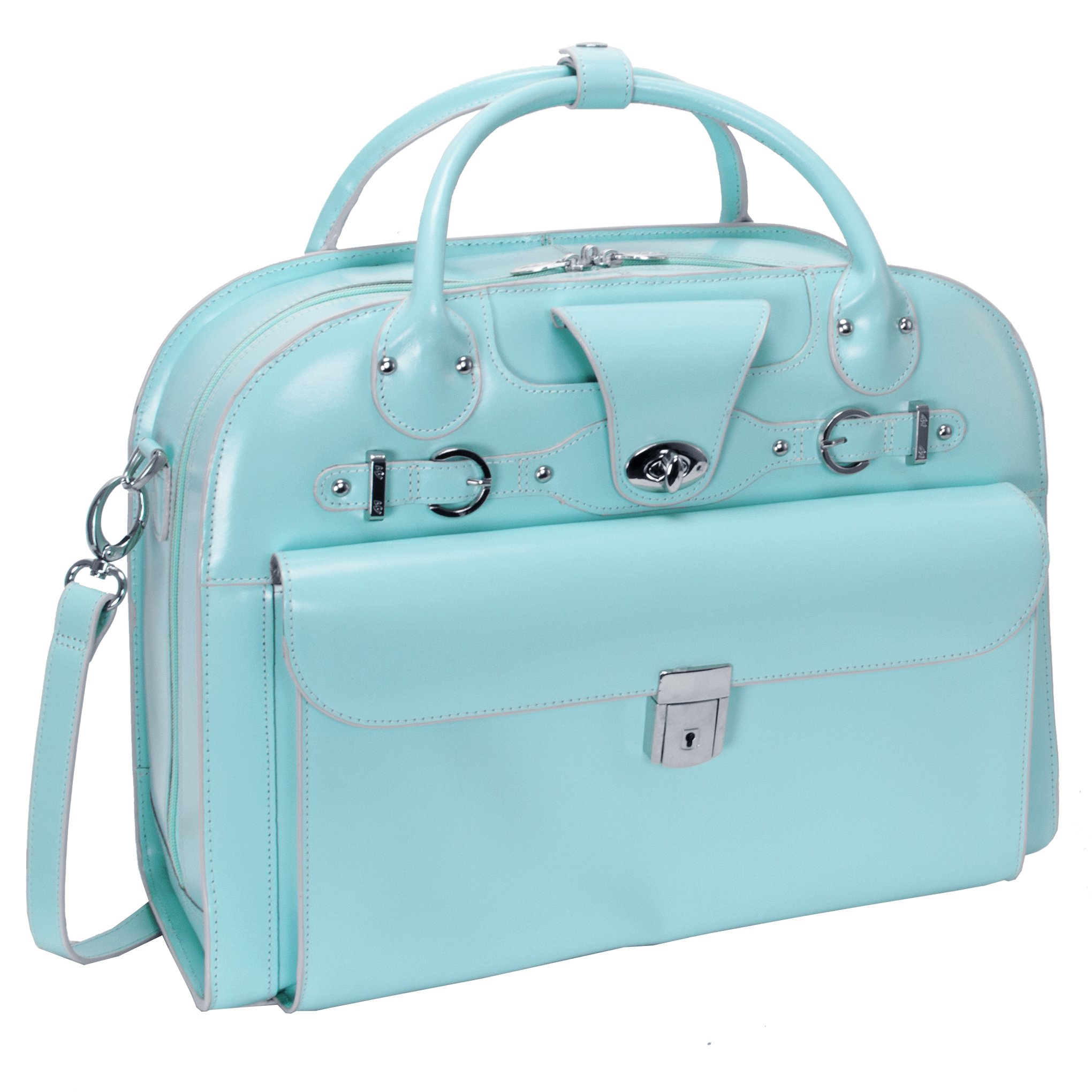 McKleinUSA ROSEVILLE 96648 Aqua Blue Leather Fly-Through Checkpoint-Friendly Detachable-Wheeled Ladies' Briefcase by McKleinUSA