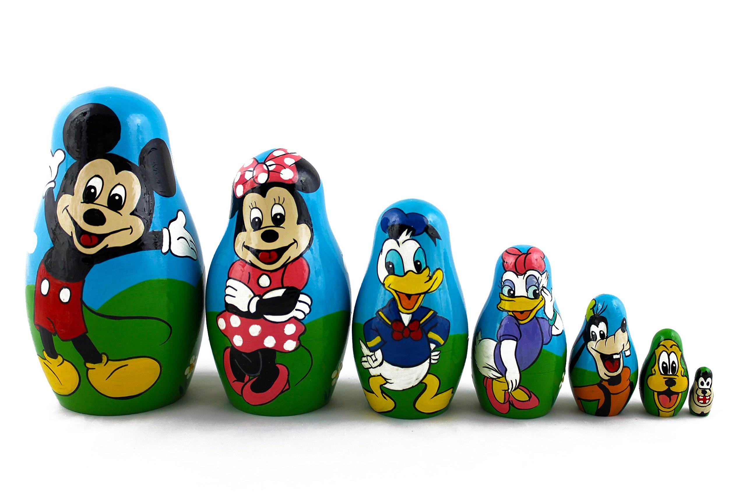 Matryoshka Babushka Russian Nesting Wooden Stacking Doll Best Cartoon Mickey Mouse 7 Pcs by MATRYOSHKA&HANDICRAFT