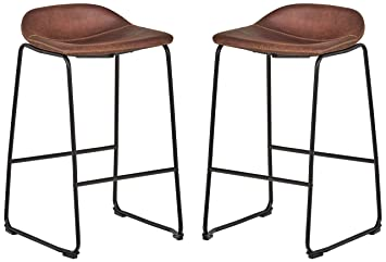 Outstanding Rivet Mid Century Modern Microfiber No Back Saddle Kitchen Counter Bar Stools Set Of 2 32 3 Inch Height Brown Black Metal Uwap Interior Chair Design Uwaporg