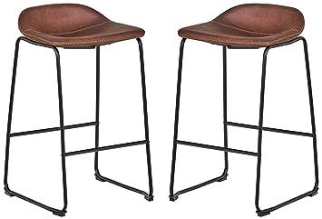 Fantastic Rivet Mid Century Modern Microfiber No Back Saddle Kitchen Counter Bar Stools Set Of 2 32 3 Inch Height Brown Black Metal Beatyapartments Chair Design Images Beatyapartmentscom
