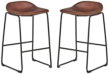 Rivet Mid-Century Modern Microfiber No-Back Saddle Kitchen Counter Bar  Stools, Set of 2, 32.3 Inch Height, Brown, Black Metal