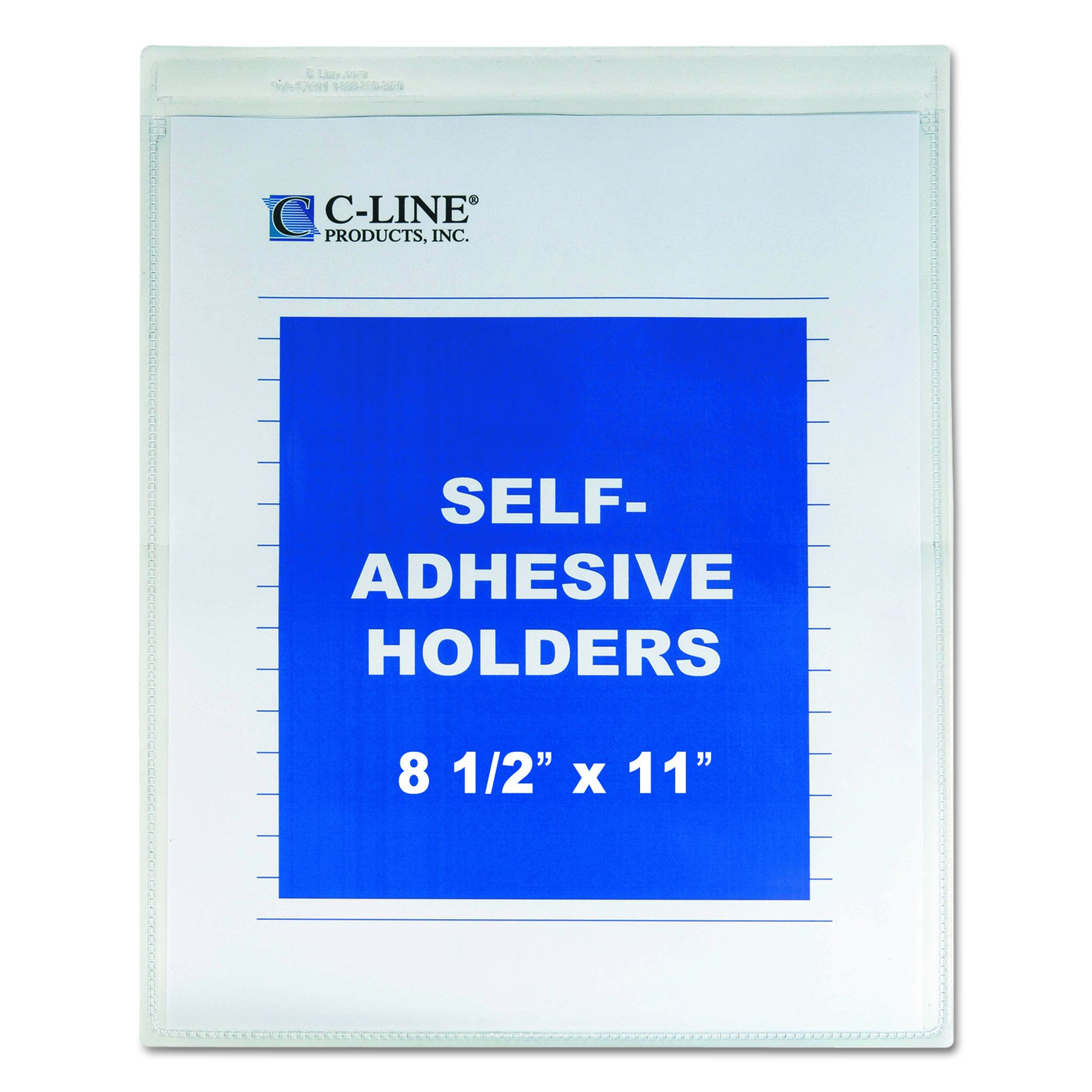 C-Line Self-Adhesive Shop Ticket Holders, 8.5 x 11 Inches, Clear, 50 per Box (70911) by C-Line
