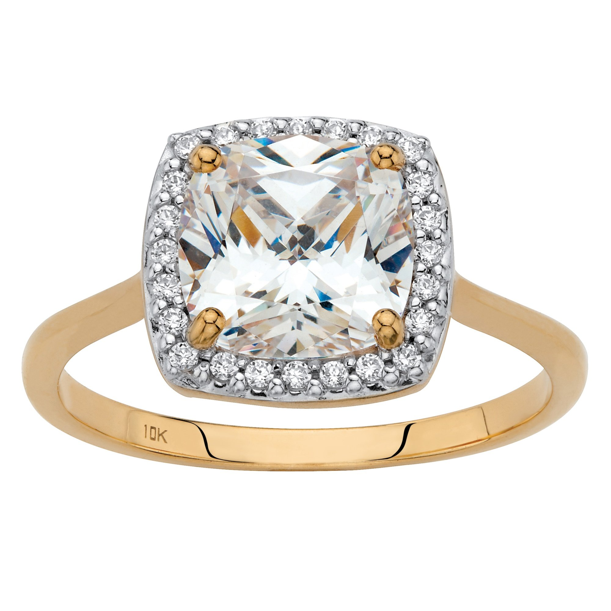 Solid 10K Yellow Gold Cushion Cut Cubic Zirconia Halo Engagement Ring Size 10