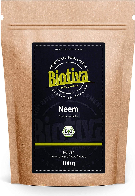 Polvo de neem o nimbo de la India orgánico 100 g - Azadirachta indica - árbol de neem - nimbo de la India - suplemento alimenticio ayurvédico - calidad orgánica - llenado en Alemania (DE-ÖKO-005)