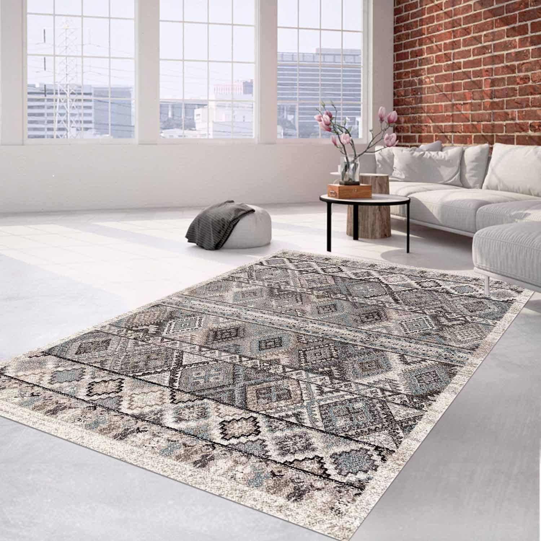 Teppich Flachflor mit Klassisch, Orientalischen Grau Muster in Creme, Grau Orientalischen für Wohnzimmer Größe 160 230 cm 98441d