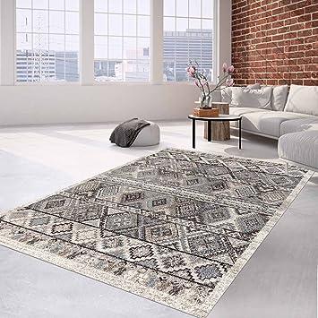 Teppich Flachflor Klassisches Orientalisches Muster Creme Grau Für  Wohnzimmer Größe 80/150 Cm