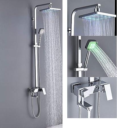 Saeuwtowy - Columna de ducha LED con grifo mezclador, bañera ...