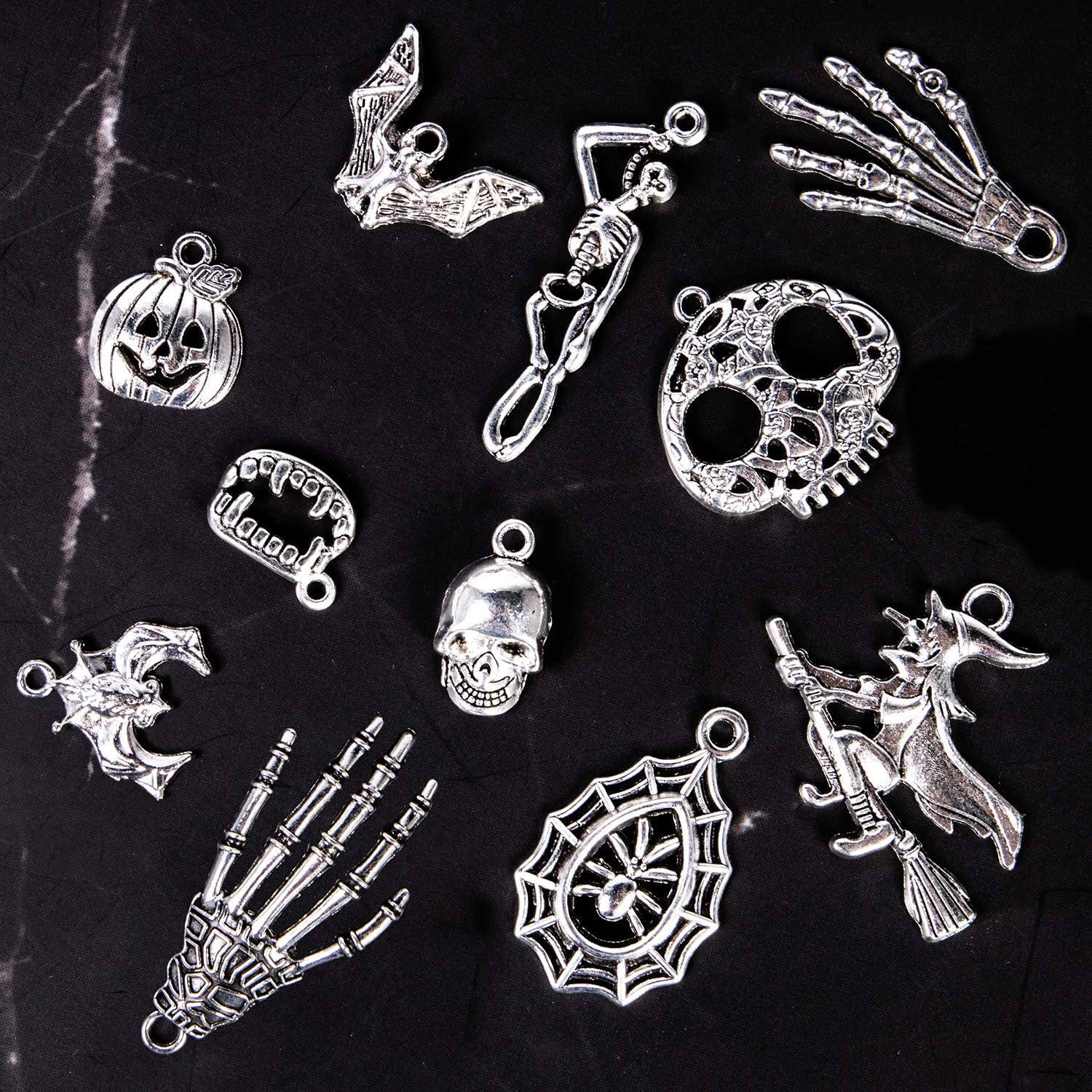 Halloween Silver Pendants Craft Supplies Halloween Jewelry Making Accessory for DIY Necklace Bracelet and More About 165-171 Pcs Halloween Charms Korlon 300 Grams
