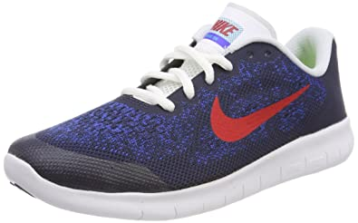 Nike Unisex-Kinder Laufschuh Free Run 2017, Blau (Obsidian/University Red-Racer Blue-Photo Blue 405), 36 EU