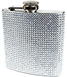 Rhinestone and Stainless Steel Hip Flask - Stores 6 Ounces (Silver)
