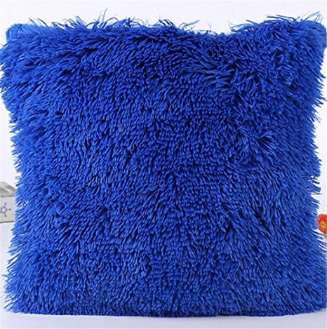 Lovely Soft Furry Cushion Cover  60cm In  NAVY