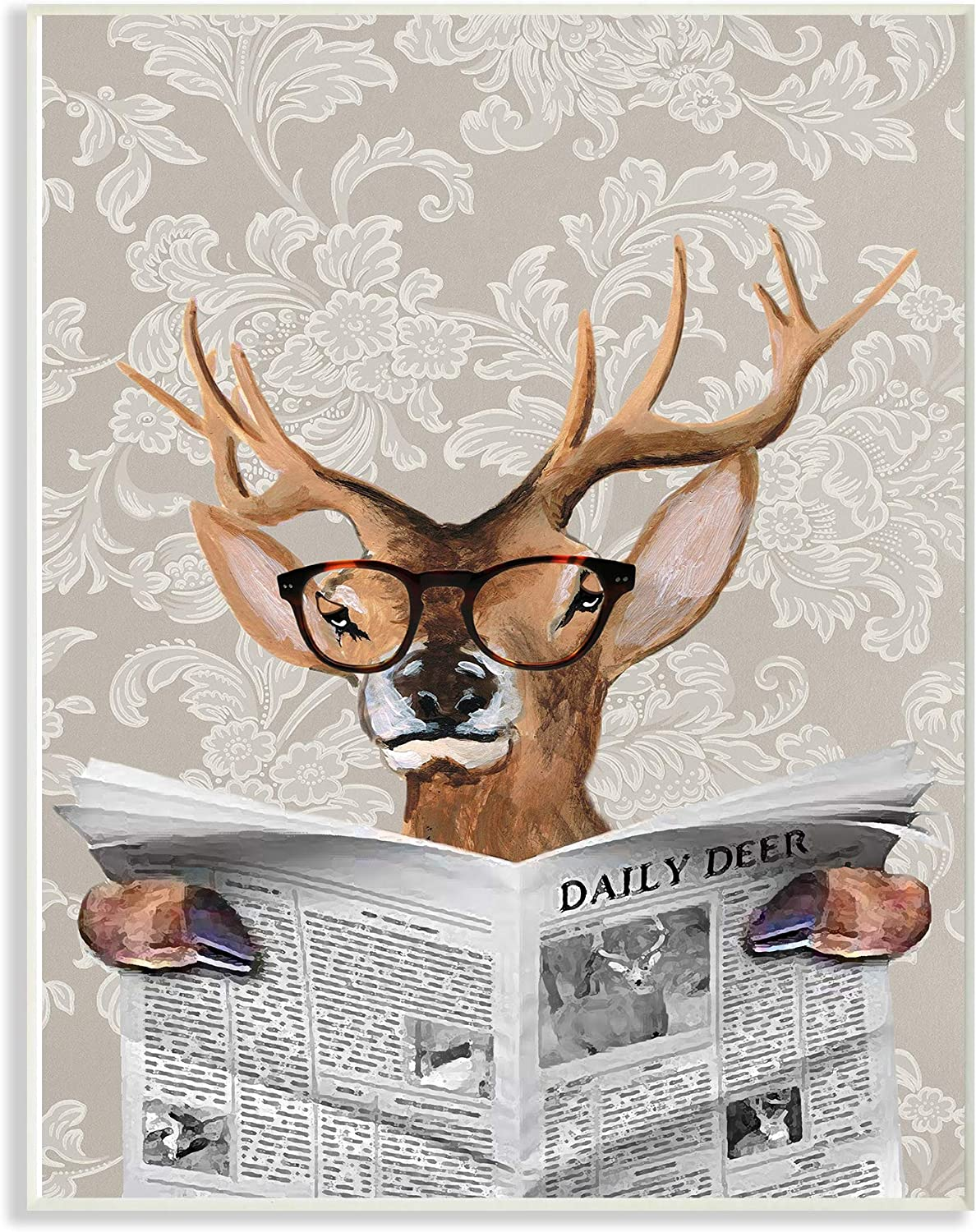 Stupell Industries Deer Reading Newspaper With Big Glasses Oversized Wall Plaque Art, 12 x 0.5 x 18, Multi-Color