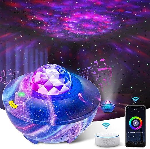 8 Farbwechsel Musik Nachtlicht Lampe mit Bluetooth Lautsprecher /& Timer Ozeanwellen Sternenhimmel Projektor Tolle Geschenke f/ür Kinder//Baby Ferngesteuerte Nachtlichter LED Sternenlicht Projektor