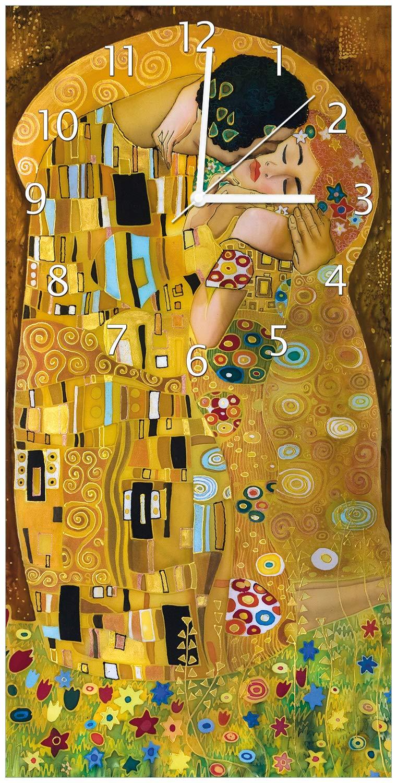 Wallario Design Wanduhr Der Kuss von Klimt aus Acrylglas, Größe 30 x 60 cm, weiße Zeiger